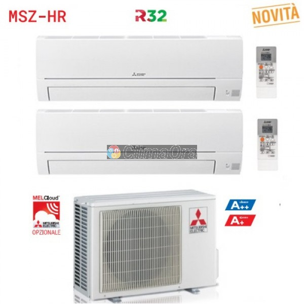 Climatizzatore Condizionatore Mitsubishi Electric Dual Split Inverter SMART MSZ-HR 9000+12000 con MXZ-2HA40VF R-32 A++ Wi-Fi Optional 9+12 NEW